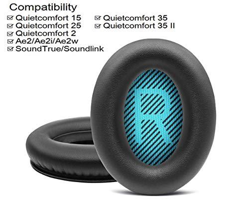 BINGLE Ohrpolster ür Bose quietcomfort 15 QC15 QC25 QC35 Ae2 Ae2i Ae2w Kopfhörer Ersatzohrpolster und innere Schaumstoffmatten (1 Paar schwarz)