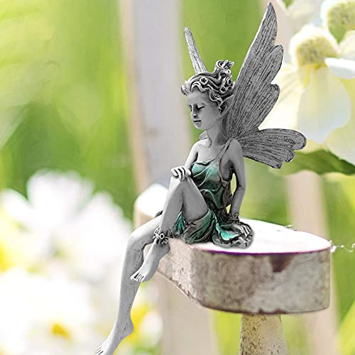 Elfen Figur Garten Feen und Elfen Figuren Deko, Sitzend Elfen Gartendeko Figuren für Außen Harz Gartenfiguren, Tudor und Turek Sitzend Magische Fee Feengarten Zubehör Outdoor (Weiß)