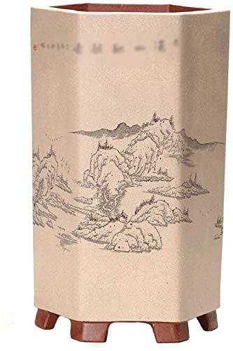 Chinese Stijl Landschap Schilderij Handgeschilderde Bonsai Bloempot Voor Balkon Vloerdecoratie Retro Groene Plant Bloempot