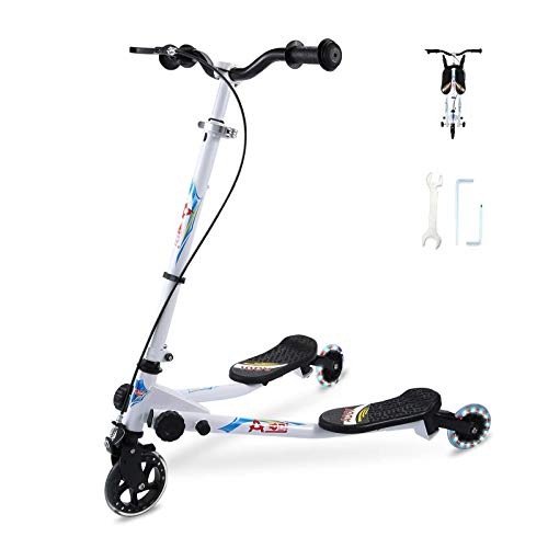 SANSIRP 3 Wheels Swing Wiggle Scooters for Kids Foldable Drift Scooter with Adjustable Handle and Illuminated LED Wheels for Boys/Girls Ages 3-8(White)