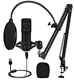 【Clear Sounds】Noise reducing shock mount, anti-inference magnetic ring and 192 KHz/24 -bit collection all of these are results in clearer and higher quality recordings. 【Plug and Play】This USB microphone is designed for free drive, plug and play, and...