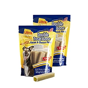 Ultra Chewy Naturals Dog Treat Bone Made in USA Highly Digestible Irresistible Flavors Special Box with 2 Value Packs (Bacon and Cheese)