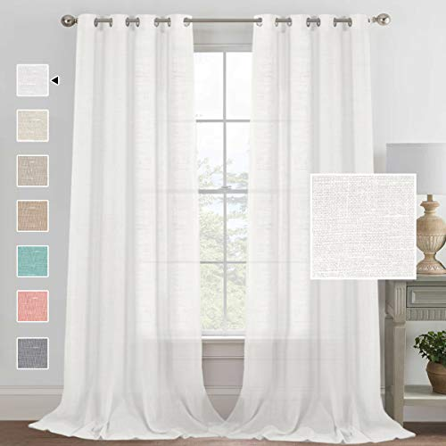 Extra Long Rich Linen White Curtains for Living Room 95 Inches Long Natural Linen Soft Curtain Panels and Drapes, Classic Silver Grommet White Semi Sheer Linen Curtains, 52 by 95 Inch, 2 Panels
