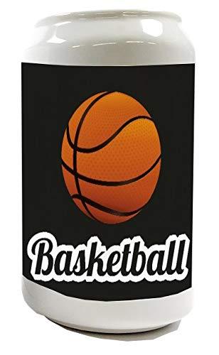 Spardose Sparbüchse Geld-Dose Wiederverschließbar Farbe Weiß Retro Basketball Keramik Bedruckt