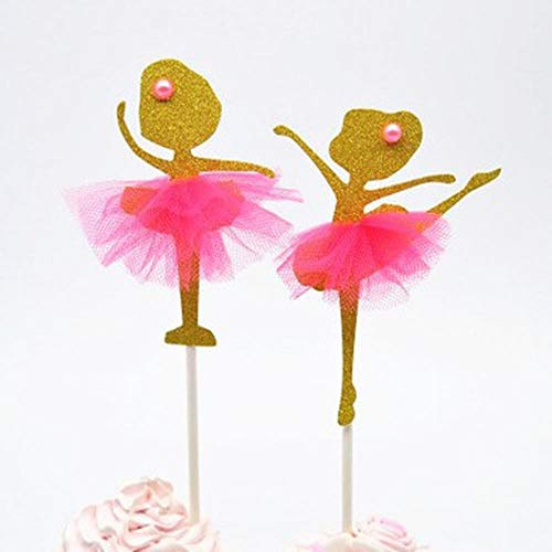 ERFHJ 4 stuks/pak taart topper taart topper goud glitter dansen meisje ballerina taart topper taart selectie bruiloft partij decoratie
