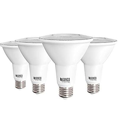 Sunco Lighting 4 Pack PAR30 LED Bulb, 11W=75W, Dimmable, 6000K Daylight Deluxe 850 LM, E26 Base, Indoor/Outdoor Spotlight, Waterproof - UL & Energy Star