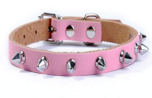 ZYYC Collares Rosados para Perros pequeños, Diamantes de imitación para Gatos, para Mascotas, Collar para Cachorros, Collar para Chihuahua, katten halsband, Collier Chat, Cuero Genuino_M