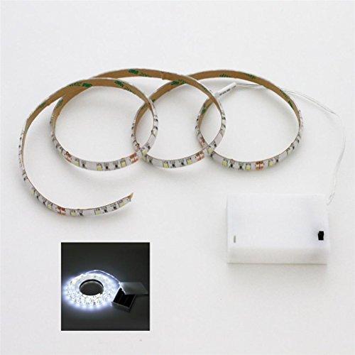 Tira de luz led, color blanco frío, 100 cm, incluye caja de batería e interruptor, funciona con pilas