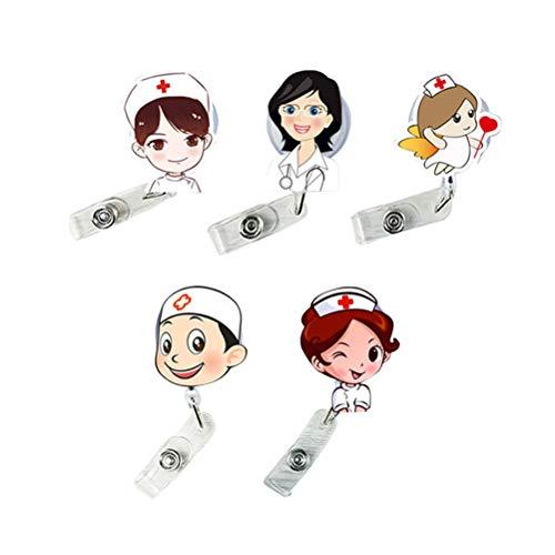 STOBOK 5 Stück Krankenschwester Arzt einziehbare Abzeichen Halter Reel Abzeichen Clip niedlichen Namenskartenhalter für Krankenschwester