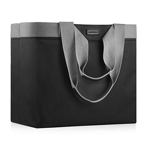 CHICECO XXL Große Shopper Einkaufstasche für Damen für die Arbeit im Fitnessstudio Wasserdichte Strandtasche aus Nylon - Schwarz Grau