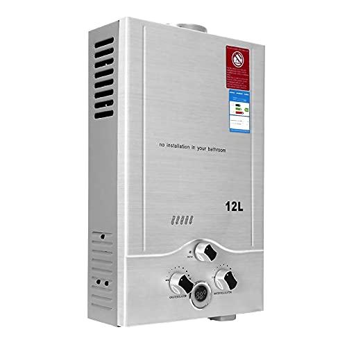 12LPM Gasdurchlauferhitzer,24KW LPG Durchlauferhitzer mit Niedrigsten Verfügbaren Wasserdruck von 0,02 MPa,für Zuhause,Wohnmobile,Kabinen,Scheunen,Geeignet für Butan & Propan