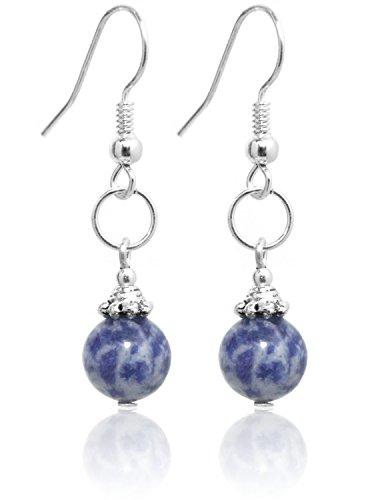2LIVEfor Handmade Ohrringe Kugeln Blau Echte Perlen Sodalit Silber Hängend Versilbert blaue Ohrringe Naturstein ohrringe blau weiß hängend ohrringe blau vintage Ohrhänger Sodalith Schmuck