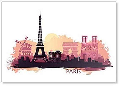 Aimant de réfrigérateur Paysage de Paris Tour Eiffel, Arc de Triomphe et Cathédrale Notre-Dame