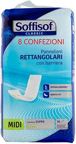 Soffisof Classic Pannoloni Rettangolari con Barriera - 8 Confezioni da 30 Pezzi