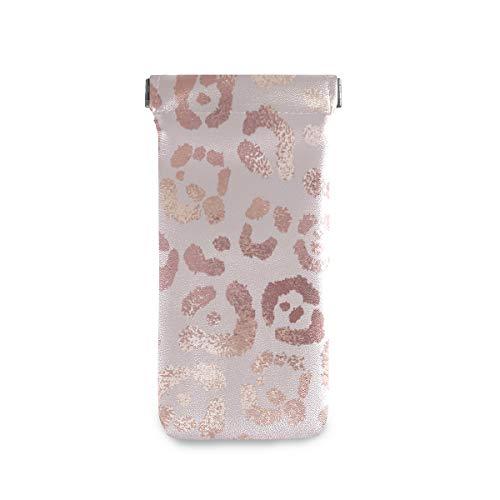 linomo - Funda para gafas de sol (microfibra, piel), diseño de leopardo, color rosa y dorado