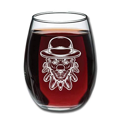 Verre à vin sans pied avec chapeau de clown souriant, réutilisable, incassable, simple, moderne, verrerie à vin pour bar, cadeau d'anniversaire pour femme, blanc, 350 ml