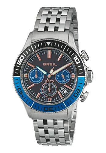 Armbanduhr BREIL Mann Manta 1970 quadrante schwarz e uhrarmband in Stahl schwarz-blau, Werk Chrono SOLAR-Uhr