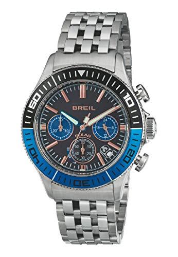 Orologio BREIL uomo MANTA 1970 quadrante nero e bracciale in acciaio nero-blu, movimento CHRONO SOLARE
