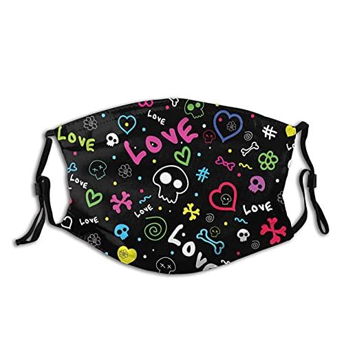 Skull Love Doodle Face M-A-S-K-Transpirable Confort, Reutilizable y Lavable, Unisex Filtro Polvo Paño Cara M-A-S-K