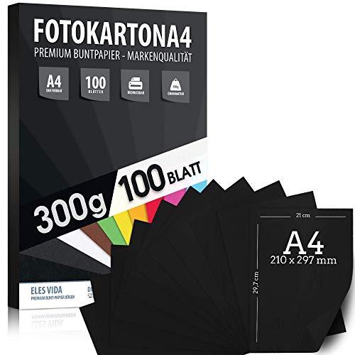 Fotokarton 100 vellen A4-formaat - 300 g/m² dik - volledig zwart - karton voor knutselen voor professioneel en thuisgebruik, knutselaccessoires - creatieve accessoires voor fotoalbums cadeau-idee
