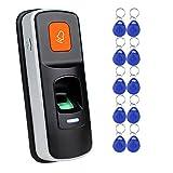 Lector de Control de Acceso RFID Independiente con Huella Dactilar Abrelatas Biométrico Soporte Tarjeta SD + 10pcs RFID 125KHz Mando Azul