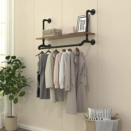 40 W Industrial Detachable Wall Mounted Black Iron wooden Garment Bar Pipe Clothes Rack Heavy product image