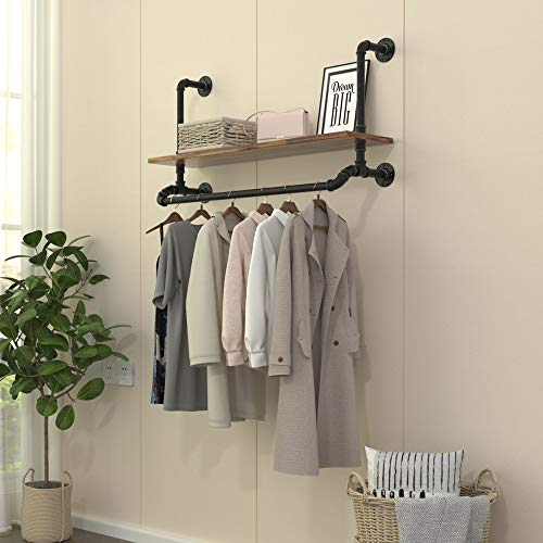 40WIndustrial Detachable Wall Mounted Black Iron wooden Garment BarPipe Clothes RackHeavy Duty pipe clothing rack Multi-Purpose Hanging Rod for Closet Storage 40W