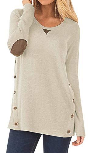 HARHAY Women's Long Sleeve Faux Suede Casual Blouse Tunic Shirt Tops Khaki M