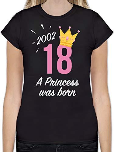 Shirtracer  Geburtstag - 18 Geburtstag Mädchen Princess 2002 -L191 - Tailliertes Tshirt für Damen und Frauen T-Shirt , 01 Schwarz ,  S
