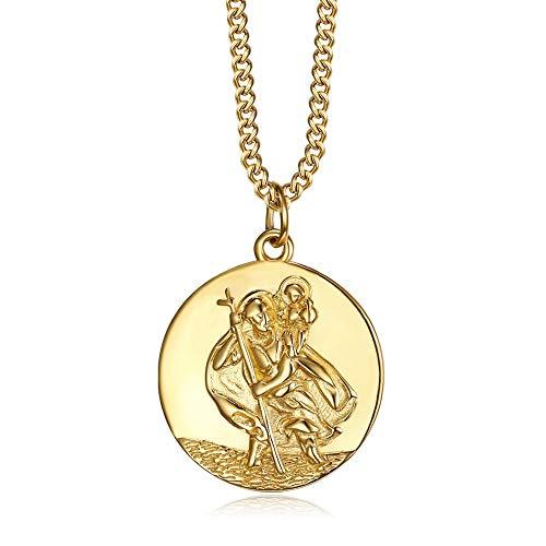 BOBIJOO JEWELRY - Anhänger Halskette Frau mit Kind, der Heilige christophorus, Schutzpatron der Reisenden, 20mm Kette 45cm Vergoldet Gold-Plattiert