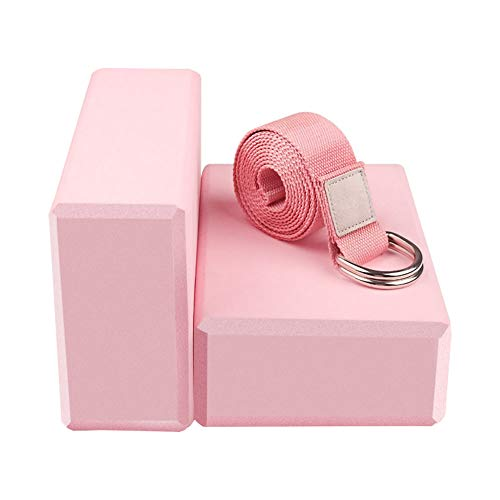 Yoga Blocks 2 Pack Set - (Yoga Brick with 1 Yoga Strap) High Density Soft Non-Slip Pilates Meditation EVA Foam for Women