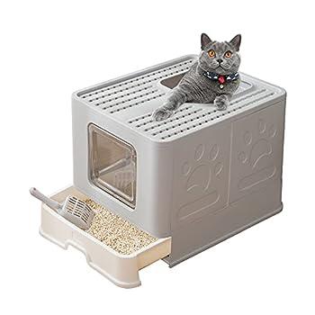 Suhaco Bac à Litière Pliable pour Chat, Grande Maison de Toilette Chat avec Couvercle, Bac de Portable Tiroir et Pelle à Litière (Nouveau Gris)