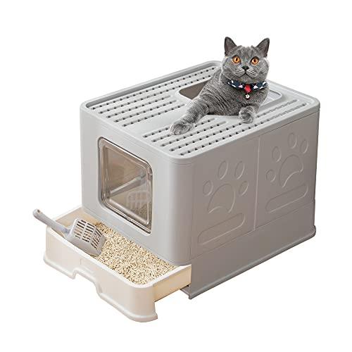 Suhaco Caja de Arena para Gatos con Tapa Bandeja de Arena para Gatos Plegable Grande con Inodoro para Mascotas de Entrada Superior Que Incluye Pala (Gris)