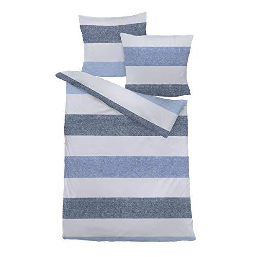 Traumschlaf Biber Bettwäsche Streifen blau 1 Bettbezug 240 x 220 cm + 2 Kissenbezüge 80 x 80 cm