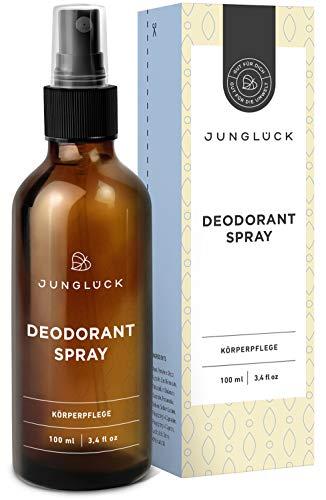 Junglück veganes Deodorant Spray | 100 m in Braunglas | Ohne Alkohol und Aluminium | Natürliche Kosmetik made in Germany