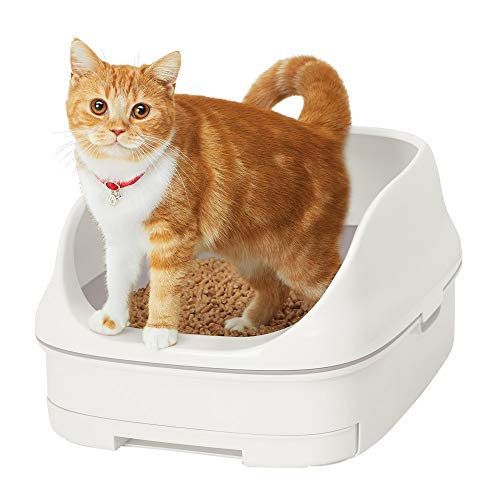 [Amazon限定ブランド] スマイリーBOX 猫用トイレ本体 ニャンとも清潔トイレセット [約1か月分チップ・シート付] オープンタイプ クールホワイト (猫ちゃん想い設計) 猫砂