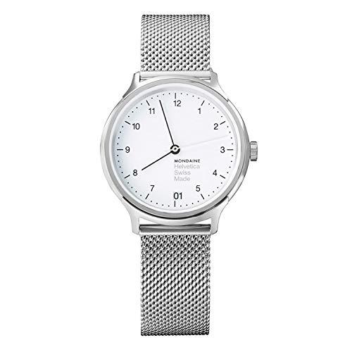 Mondaine Helvetica No1 Regular, dameshorloge witte wijzerplaat met datumweergave, zilverkleurige mesh-armband