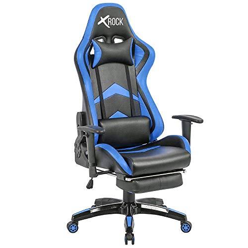 X-Rock Sedia Gaming con Poggiapiedi Ergonomica da Ufficio Computer Reclinabile con Supporto Lombare Poltrona (Blu e Nera)