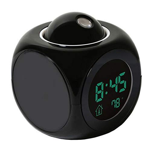 whbage Wecker Kleiner digitaler LED-Projektionswecker LCD-sprechender Wecker mit Zeit-Temperatur-Projektor Multifunktionsuhr