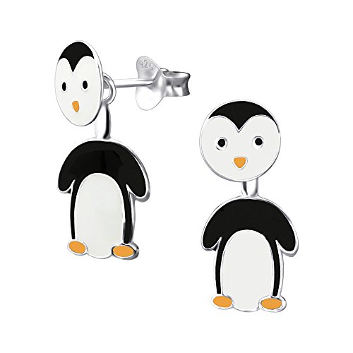Laimons Mädchen Kids Kinder-Ohrstecker Ohrringe Ohrhänger Kinderschmuck Pinguin Tier in schwarz weiß aus Sterling Silber 925