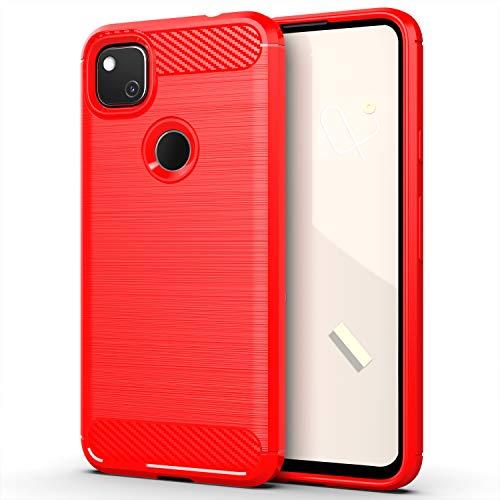 YZKJ Funda para Google Pixel 4A, Carcasa TPU Cover Protectora Caso Flexible Fibra de Carbono Silicona Case [Resistente a Arañazos] - Rojo