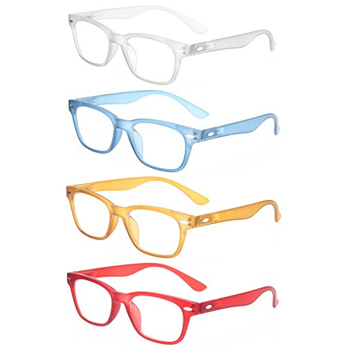Reading Glasses 4 Pack Fashion Men And Women Readers Spring Hinge Glasses for Reading, 1gray 1blue 1brown 1red, Medium