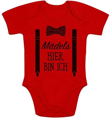 Shirtgeil Mädels, Hier Bin Ich! - Geschenk für Neugeborene Jungen Baby Kurzarm Body (0 - 3M, Rot)