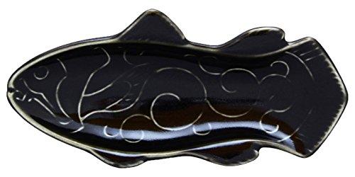 まるぶん 有田焼 伝平窯 小皿 シーラカンス(黒マット) 99208