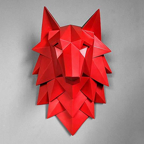 Exquisita Estatua de la Escultura Estatua casera Decoración Accesorios 3D Abstracto Cabeza de Lobo Escultura Boda Chrismas Decoración de la Pared Hecho a Mano Resina Arte Artesanal, Rojo