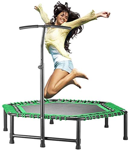 48''Ultra Quiet Fitness Trampoline Mini Achthoek met verstelbare handgreep, Trampoline Oefening for Volwassenen Kids Indoor/Tuin Workout