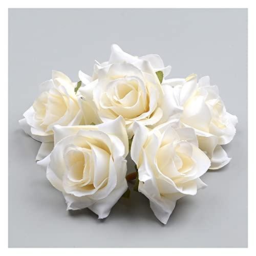 künstliche blumen 50 stücke diy künstliche weiße rose seide blumen kopf für hause hochzeit dekoration kranz geschenk box scrapbooking gefälschte blumen künstliche blumen deko ( Color : Milk white )