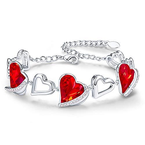 CDE Pulseras para mujer Pulsera de Corazón Rojo Chapada en Oro Blanco de 18k Regalos de joyería para Mujeres Madre Novia y Esposa Regalo de Cumpleaños Día de Aniversario(Rojo)