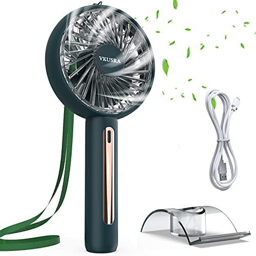 Mini Ventilador de Mano, VKUSRA Portátil Ventilador USB con 4 Velocidades Ajustables y Vertical Gira de 30 Grados Fan para al Hogar, Oficina, Viajes, Picnic