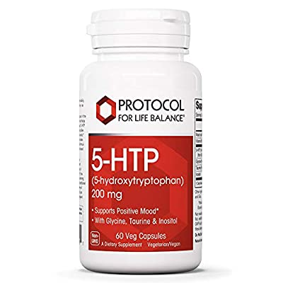 Protocol For Life Balance - 5-HTP (5-hydroxytryptophan) 200 mg - with Glycine, Taurine and Inositol to Support Positive Mood, Natural Weight Loss, Sleep Aid, 60 Veg Capsules
